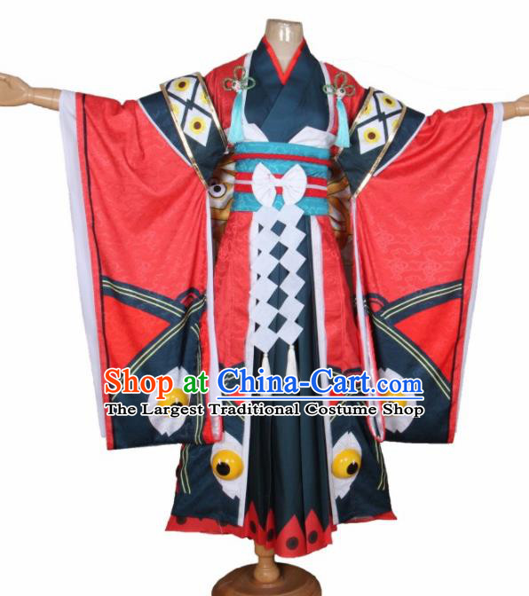 Asian Japanese Traditional Cosplay Yokime Costumes Ancient Red Furisode Kimono Yukata Clothing for Women