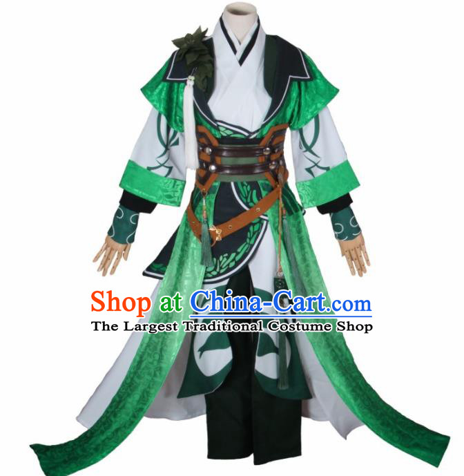 Chinese Traditional Cosplay Prince Green Costumes Ancient Swordsman Clothing for Men