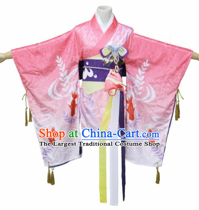 Asian Traditional Kimono Cosplay Costumes Japanese Ancient Geisha Pink Furisode Yukata Clothing for Women