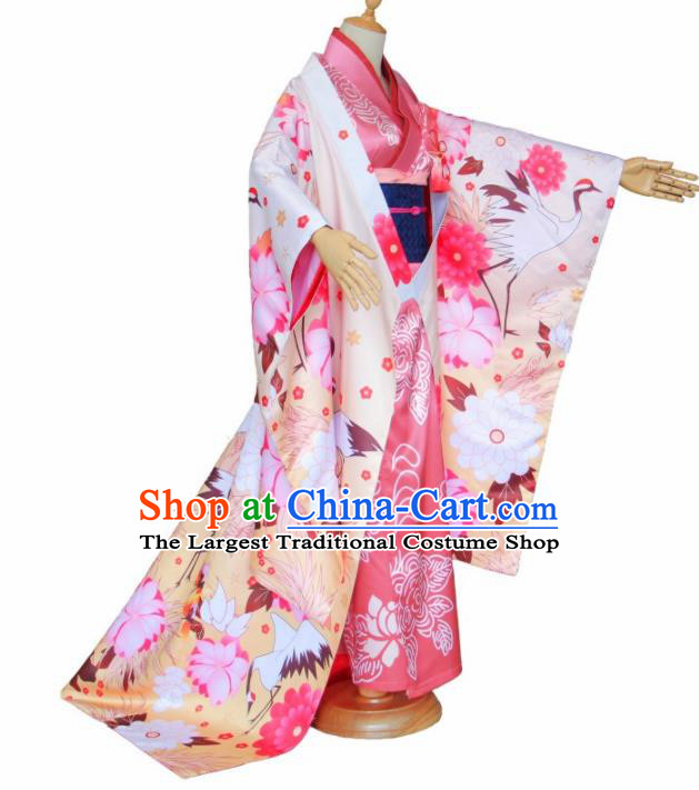 Asian Traditional Pink Furisode Kimono Cosplay Costumes Japanese Ancient Geisha Yukata Clothing for Women