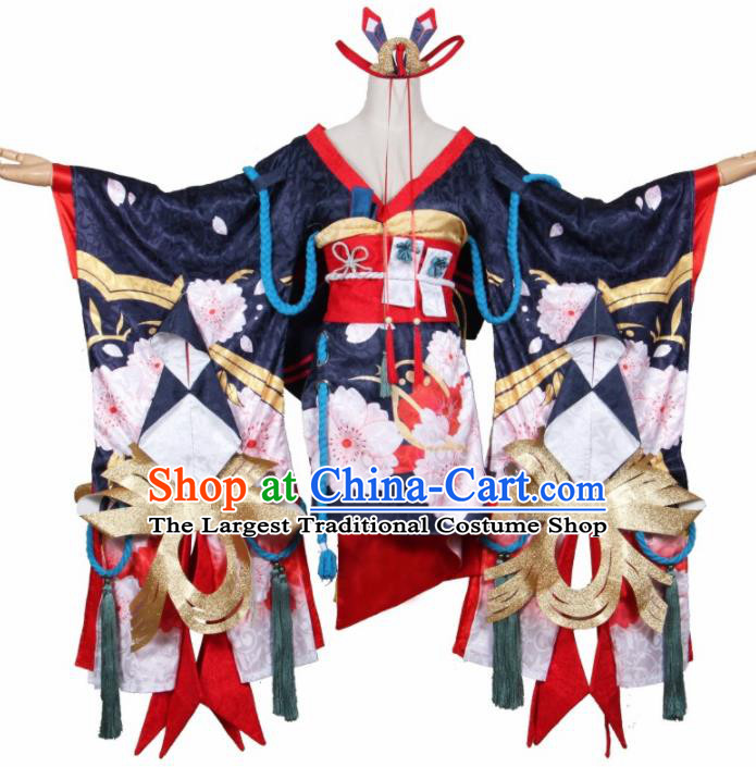 Asian Traditional Navy Furisode Kimono Cosplay Costumes Japanese Ancient Geisha Yukata Clothing for Women