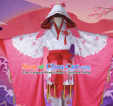 Asian Japanese Traditional Pink Furisode Kimono Cosplay Costumes Ancient Geisha Yukata Clothing for Women
