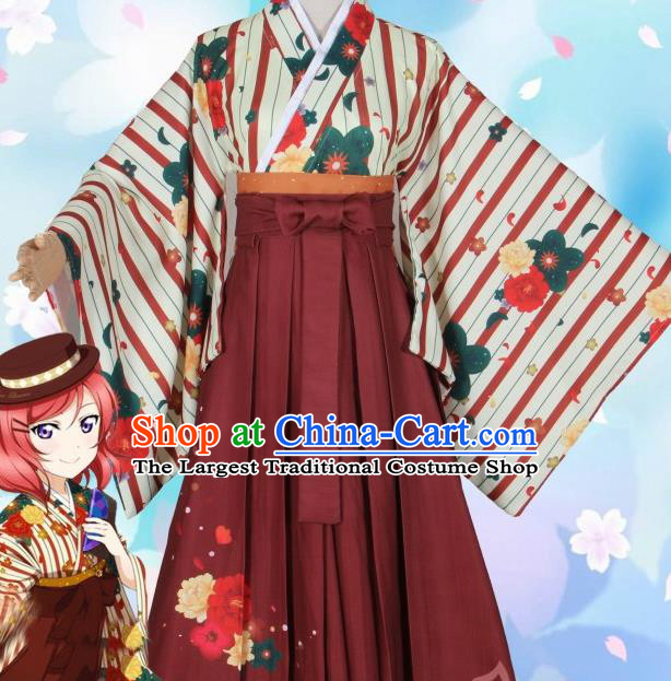 Asian Japanese Traditional Printing Furisode Kimono Cosplay Costumes Ancient Geisha Yukata Clothing for Women