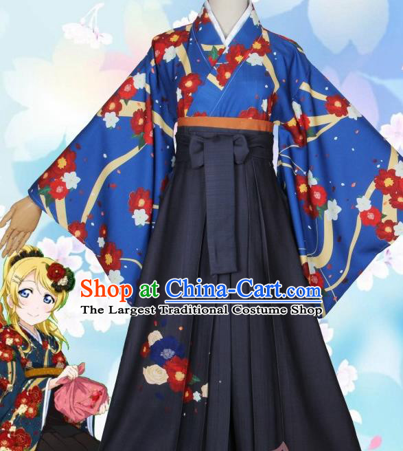 Asian Japanese Traditional Furisode Kimono Cosplay Geisha Costumes Ancient Yukata Clothing for Women