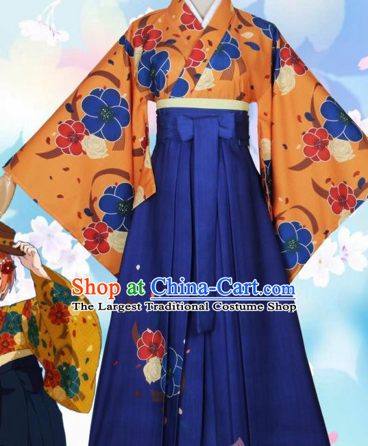 Asian Japanese Traditional Orange Furisode Kimono Cosplay Geisha Costumes Ancient Yukata Clothing for Women