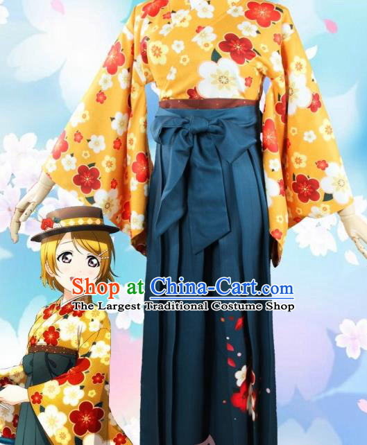 Asian Japanese Traditional Yellow Furisode Kimono Cosplay Geisha Costumes Ancient Yukata Clothing for Women