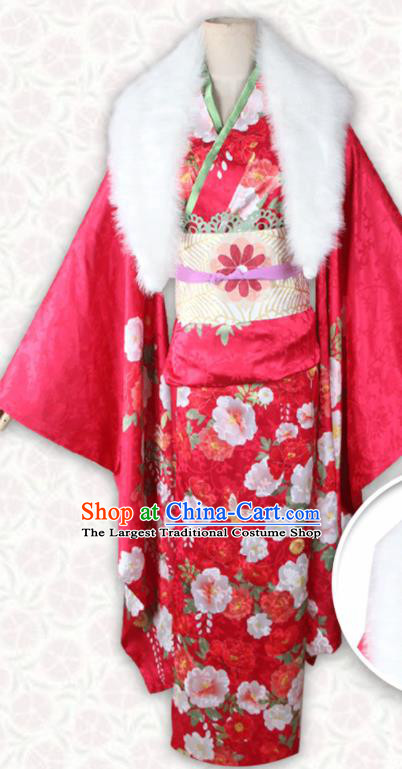 Asian Japanese Traditional Costumes Red Furisode Kimono Ancient Cosplay Geisha Yukata Clothing for Women