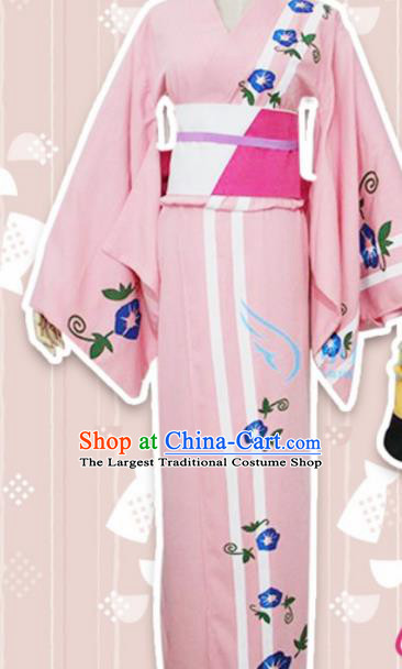 Asian Japanese Traditional Costumes Furisode Kimono Ancient Cosplay Geisha Pink Yukata Clothing for Women