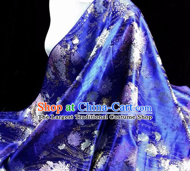 Asian Chinese Traditional Tang Suit Fabric Royalblue Brocade Silk Material Classical Chrysanthemum Pattern Design Drapery