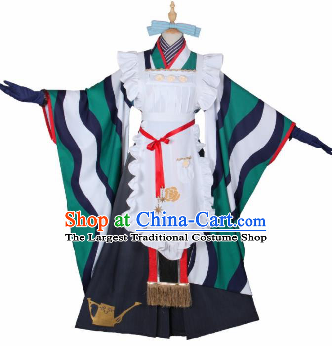 Asian Japanese Traditional Cosplay Housemaid Costumes Ancient Furisode Kimono Yukata Clothing for Women
