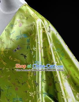 Asian Chinese Traditional Tang Suit Fabric Green Brocade Silk Material Classical Dragonfly Pattern Design Drapery