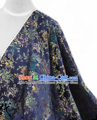 Asian Chinese Traditional Tang Suit Fabric Navy Brocade Silk Material Classical Peony Pattern Design Drapery
