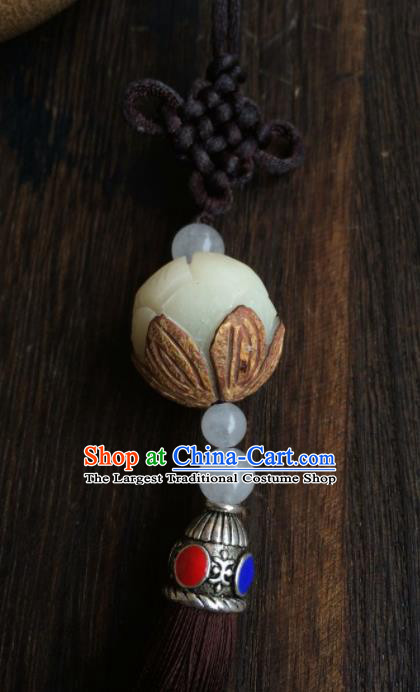 Chinese Traditional Carving Lotus Accessories Tassel Pendant Ornaments