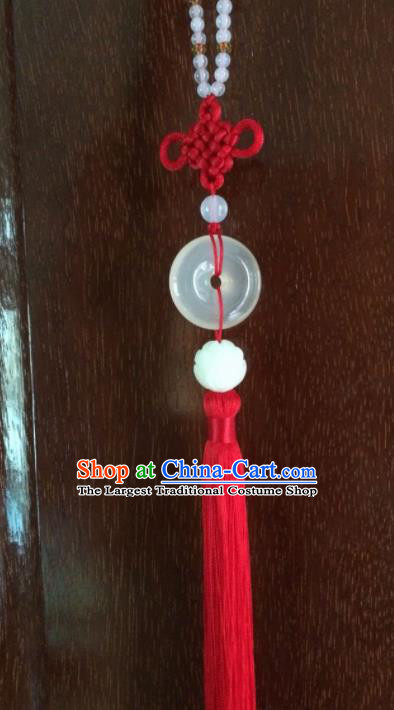 Chinese Traditional Carving Lotus Accessories Tassel Jade Pendant Ornaments