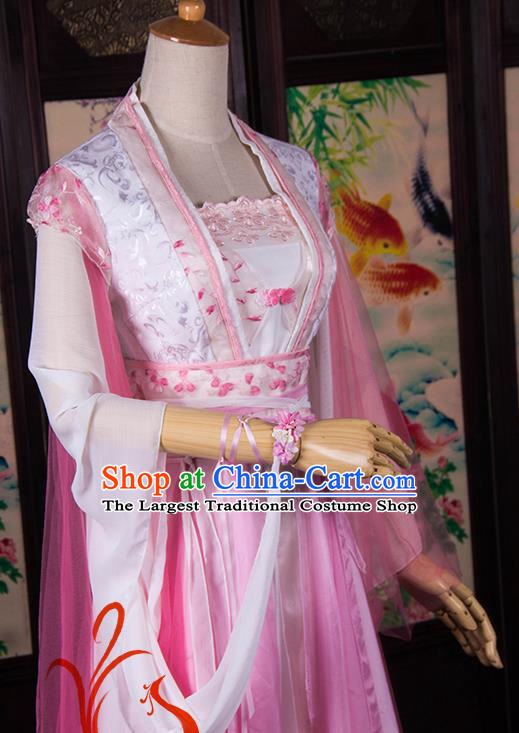 Traditional Chinese Cosplay Peri Princess Costumes Ancient Swordswoman Pink Hanfu Dress for Women