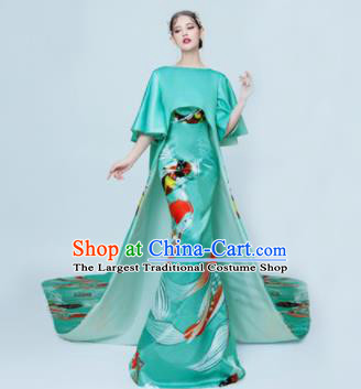 Chinese Classical Catwalks Costumes Traditional Green Trailing Full Dress for Women