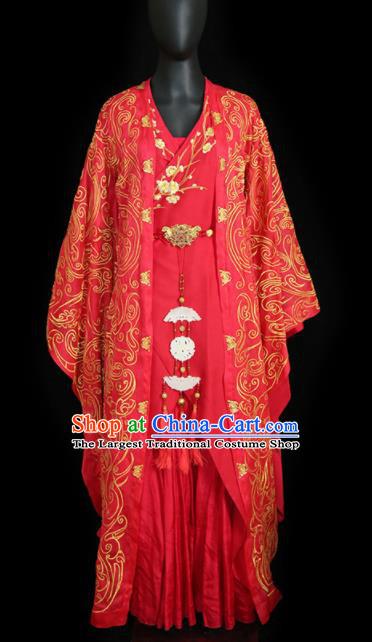 Chinese Traditional Wedding Embroidered Costumes Ancient Princess Red Clothing for Women