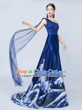 Top Performance Catwalks Costumes Wedding Single Shoulder Navy Full Dress for Women