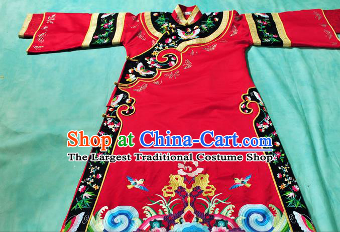 Chinese Traditional Qing Dynasty Queen Red Costumes Ancient Empress Embroidered Clothing for Women