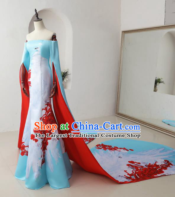 Chinese Classical Catwalks Costumes Traditional Printing Crane Cheongsam Trailing Full Dress for Women
