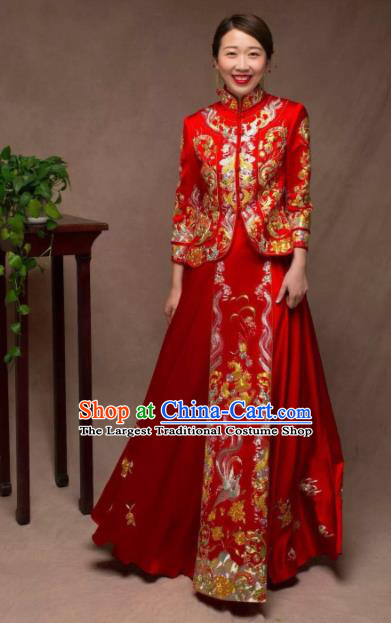 Chinese Traditional Wedding Red Costumes Ancient Bride Embroidered Xiuhe Suit for Women
