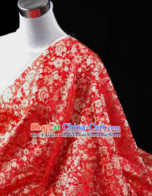 Asian Chinese Traditional Tang Suit Fabric Red Brocade Silk Material Classical Pattern Design Drapery