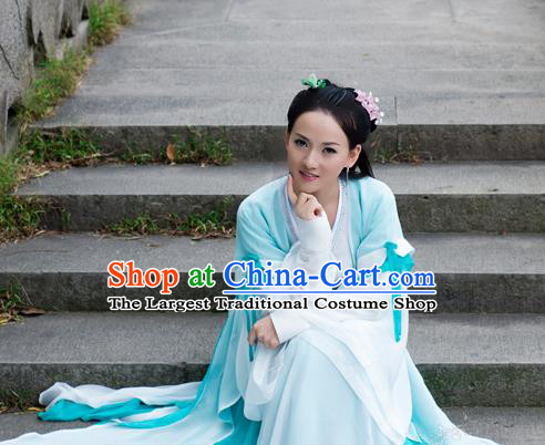 Chinese Traditional Costumes Ancient Swordswoman Peri Embroidered Hanfu Dress for Women