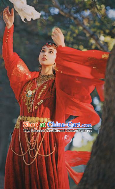 Chinese Traditional Loulan Princess Red Dress Ancient Swordswoman Embroidered Costumes and Headpiece for Women