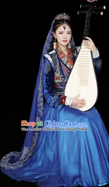 Chinese Ancient Traditional Loulan Princess Embroidered Costumes and Headpiece Complete Set