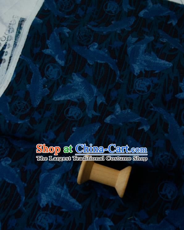 Asian Japanese Traditional Kimono Fabric Brocade Silk Material Classical Blue Fishes Pattern Design Drapery