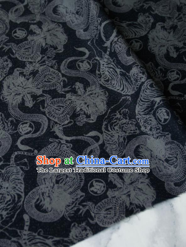 Asian Japanese Traditional Kimono Fabric Brocade Silk Material Classical Dragons Pattern Design Drapery