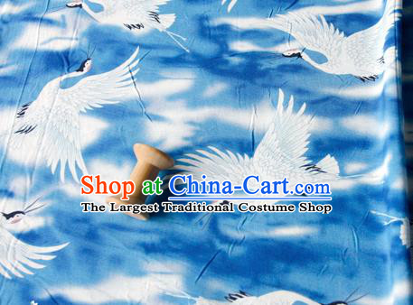 Asian Japanese Traditional Kimono Blue Brocade Fabric Silk Material Classical Cranes Pattern Design Drapery