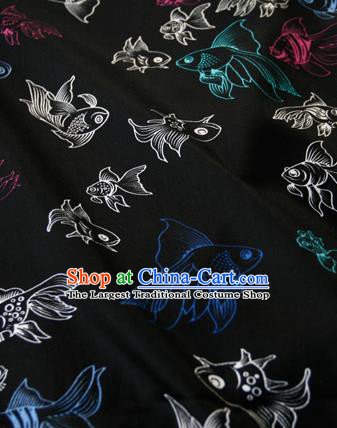 Asian Japanese Traditional Kimono Black Brocade Fabric Silk Material Classical Goldfishes Pattern Design Drapery