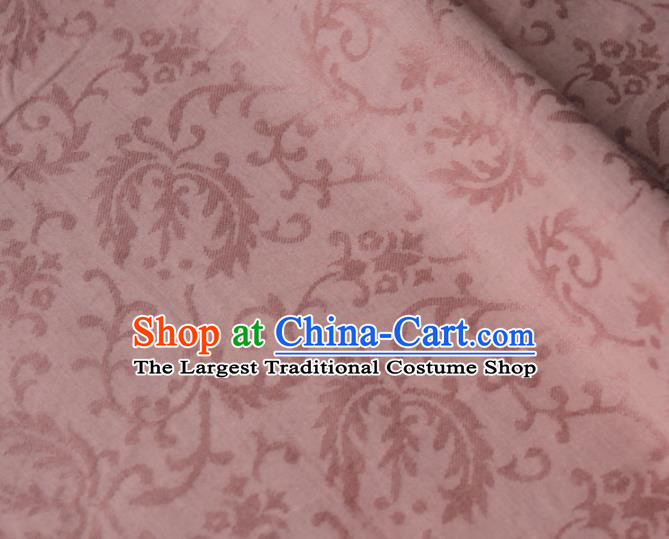 Asian Japanese Traditional Kimono Pink Brocade Fabric Silk Material Classical Pattern Design Drapery