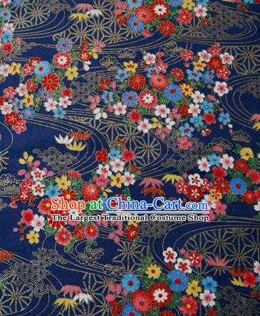 Asian Japanese Traditional Kimono Navy Brocade Fabric Silk Material Classical Flowers Pattern Design Drapery