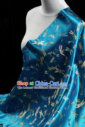 Asian Chinese Traditional Tang Suit Fabric Blue Brocade Silk Material Classical Dragonfly Pattern Design Drapery