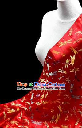 Asian Chinese Traditional Tang Suit Fabric Red Brocade Silk Material Classical Dragonfly Pattern Design Drapery