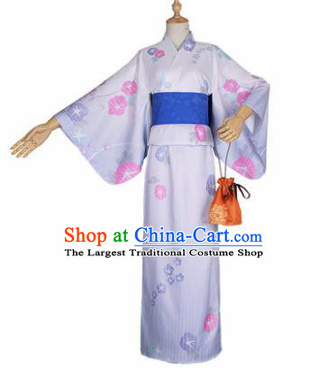 Japanese Traditional Courtesan White Kimono Costumes Ancient Cosplay Geisha Yukata Clothing for Women