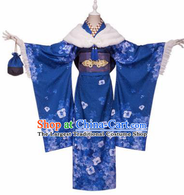 Japanese Traditional Courtesan Blue Furisode Kimono Costumes Ancient Cosplay Geisha Yukata Clothing for Women