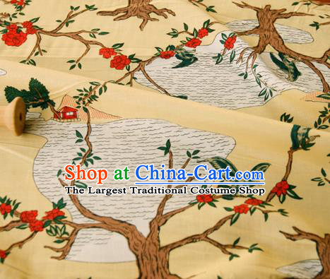 Asian Japanese Traditional Kimono Fabric Yellow Brocade Silk Material Classical Pattern Design Drapery