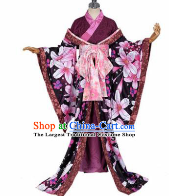 Japanese Traditional Courtesan Purple Furisode Kimono Costumes Ancient Cosplay Geisha Yukata Clothing for Women