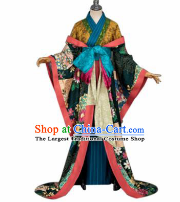 Japanese Traditional Geisha Courtesan Furisode Kimono Costumes Ancient Cosplay Yukata Clothing for Women