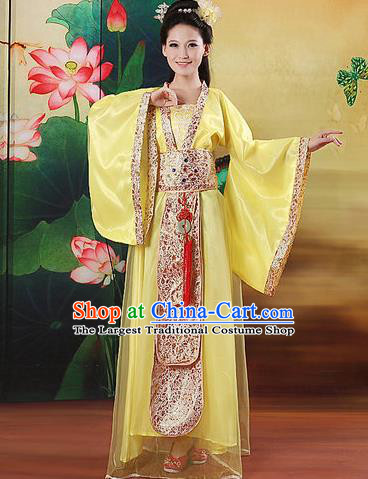 Chinese Traditional Classical Dance Costumes Ancient Peri Yellow Hanfu Dress for Women