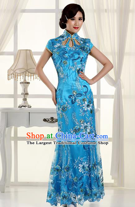 Chinese Traditional Costumes Tang Suit Cheongsam Blue Qipao Dress for Women