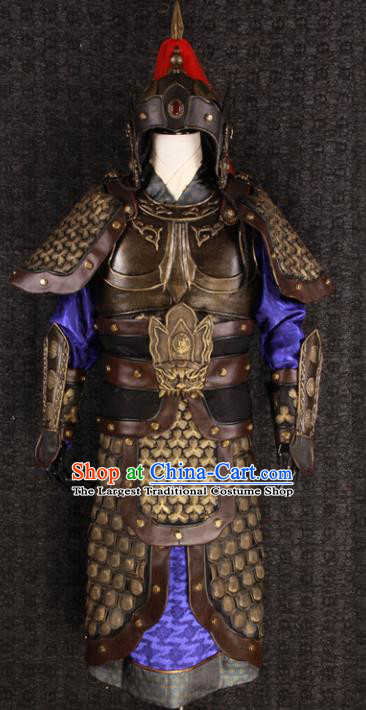 Chinese Traditional Song Dynasty Soldier Costumes Ancient General Helmet and Armour for Men