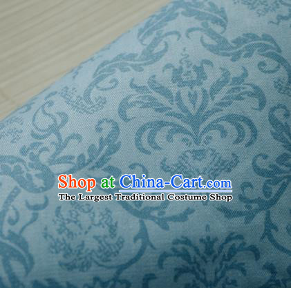 Asian Japanese Traditional Kimono Fabric Blue Linen Material Classical Pattern Design Drapery