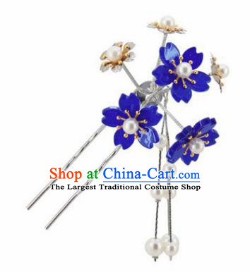 Japanese Traditional Kimono Hair Accessories Ancient Yukata Deep Blue Cherry Blossom Tassel Hairpins for Women