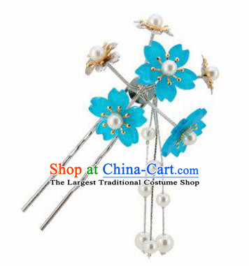 Japanese Traditional Kimono Hair Accessories Ancient Yukata Blue Cherry Blossom Tassel Hairpins for Women