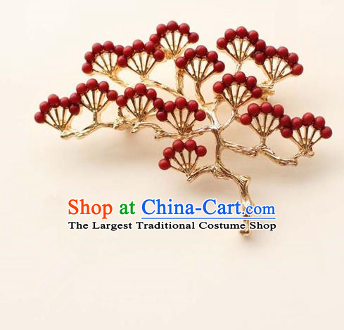 Japanese Traditional Courtesan Red Pineburst Brooch Ancient Geisha Kimono Breastpin Accessories for Women