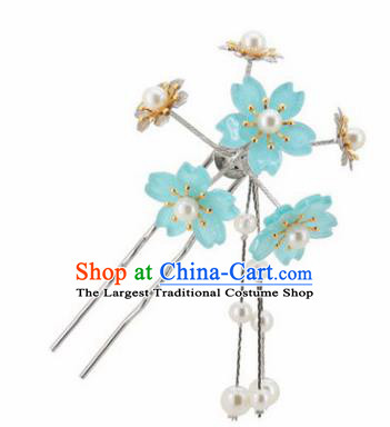 Japanese Traditional Kimono Hair Accessories Ancient Yukata Light Blue Cherry Blossom Tassel Hairpins for Women